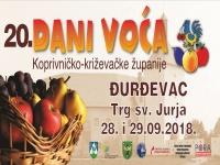 NAJAVA 20. MANIFESTACIJE DANI VOĆA KOPRIVNIČKO-KRIŽEVAČKE ŽUPANIJE 2018. GODINE
