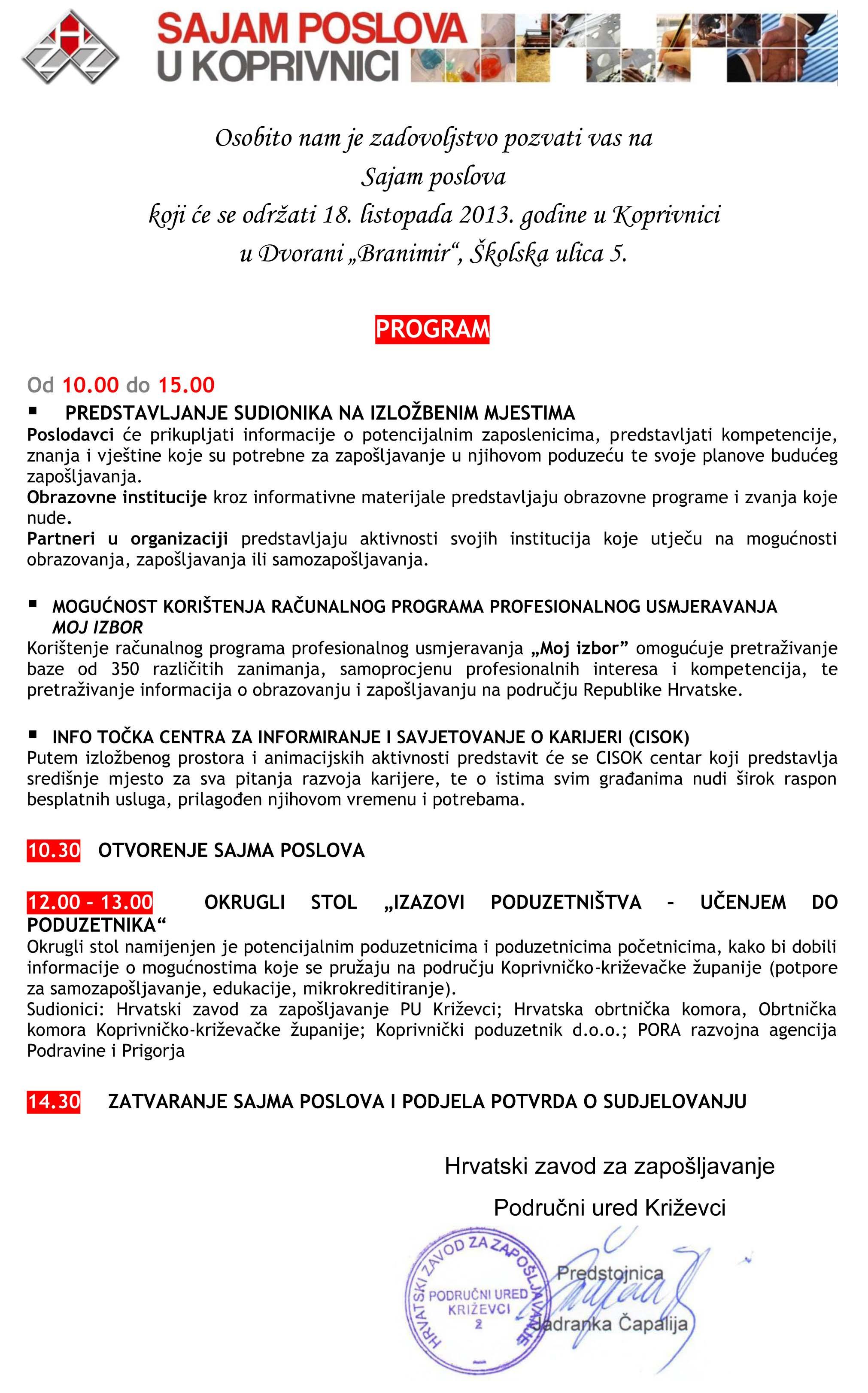 Pozivnica Sajam POSLOVA 2013