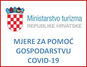 Ministarstvo turizma - Mjere za pomoć gospodarstvu uslijed epidemije COVID 19