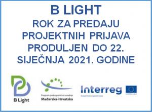 Projekt B Light rok za predaju projektnih prijava produljen do 22. siječnja 2021. godine