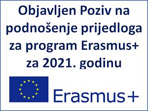 Poziv na podnošenje prijedloga za program Erasmus+ za 2021. godinu
